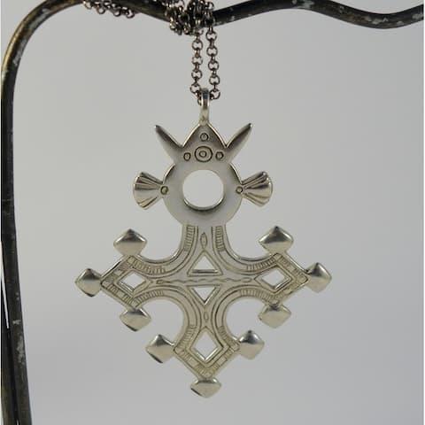 Handmade White Brass Agadez Tuareg Cross Necklace (Indonesia)