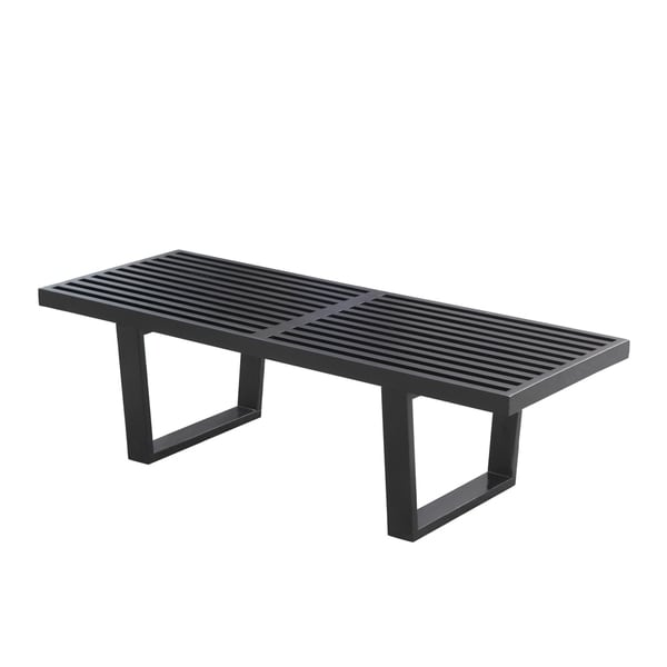 Black Wooded Slat Bench
