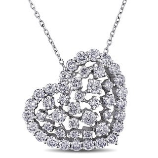 Miadora 14k White Gold 2ct TDW Diamond Heart Necklace
