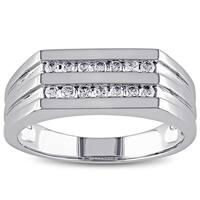 Miadora 10k White Gold 1/3ct TDW Diamond Men's 2-Row Ring (G-H, I1-I2)