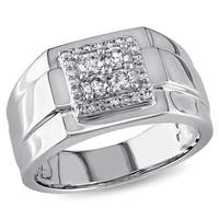 Miadora 10k White Gold 1/2ct TDW Diamond Men's Square Ring