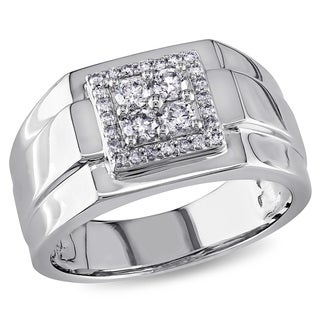 Miadora 10k White Gold 1/2ct TDW Diamond Men's Square Ring
