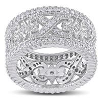 Miadora Signature Collection 14k White Gold 1ct TDW Diamond Cocktail Ring
