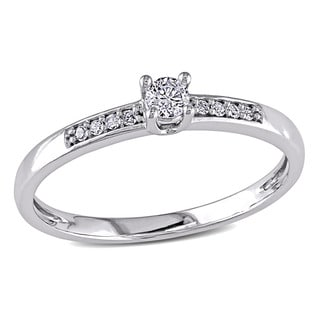 Miadora 10k White Gold 1/6ct TDW Diamond Promise Ring
