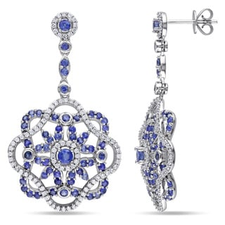 Miadora Signature Collection 14k White Gold Sapphire and 3/4ct TDW Diamond Earrings (G-H, SI1-SI2)