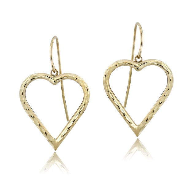 Mondevio 14k Yellow Gold Heart Dangle Earrings