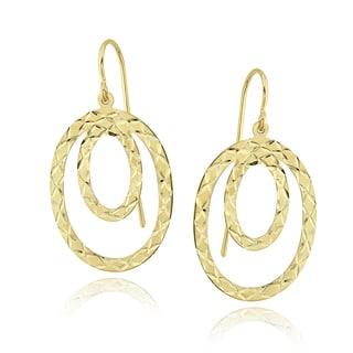 Mondevio 14k Yellow Gold Double Circle Dangle Earrings
