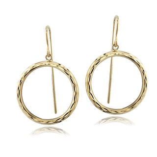 Mondevio 14k Yellow Gold Circle Dangle Earrings