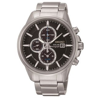 Seiko Men's SSC267 Solar Alarm Chronograph Black Dial Watch