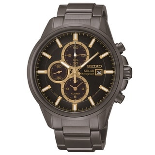 Seiko Men's SSC269 Black Ion-plated Solar Alarm Chronograph Watch