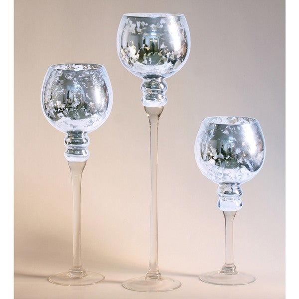 Shop 3 Piece Mercury Glass Stem Vases Free Shipping Today