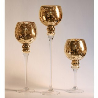 Mercury Glass Stem Vases Amber (Set of 3)