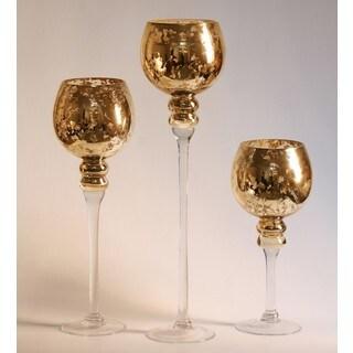 Mercury Glass Stem Vases Amber (Set of 3)