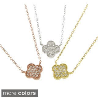 Eternally Haute Sterling Silver Pave Clover Necklace|https://ak1.ostkcdn.com/images/products/9423729/P16610474.jpg?impolicy=medium