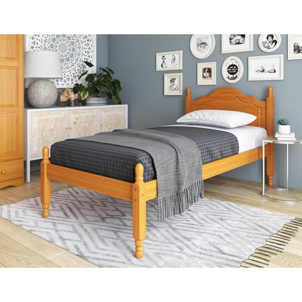 Reston Panel Headboard Platform Solid Wood Twin Bed by Palace Imports