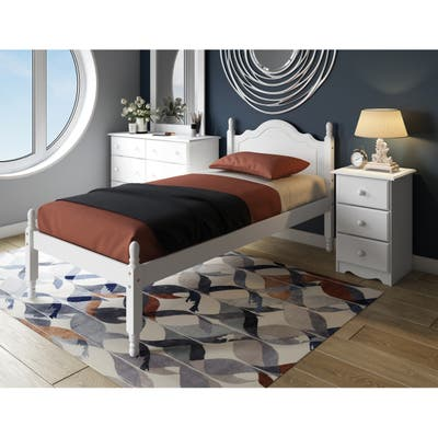 Solid Wood Reston Panel Headboard Platform Twin Bed by Palace Imports