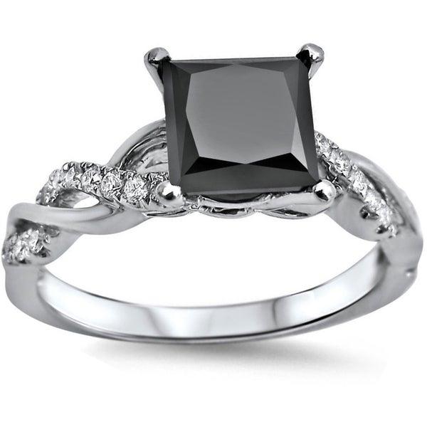 Noori 14k White Gold 1 1/3ct TDW Black Princess-cut Diamond Engagement Ring