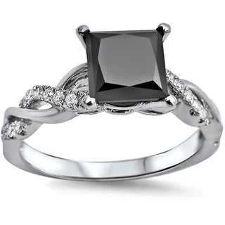 Noori 14k White Gold 1 1/3ct TDW Black Princess-cut Diamond Engagement Ring