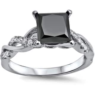 Noori 14k White Gold 1 1/3ct TDW Black Princess Cut Diamond Engagement Ring|https://ak1.ostkcdn.com/images/products/9423754/P16610520.jpg?impolicy=medium