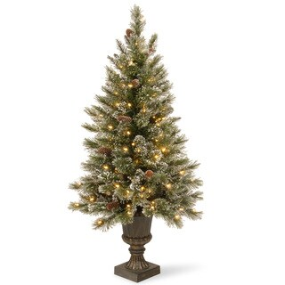 5-foot Glittery Bristle Entrance Tree with Clear Lights