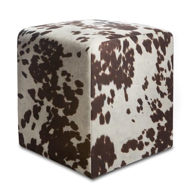 Shop Brown Cowprint Textured Velvet Square Ottoman Free