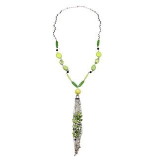 Kele & Co 'Rolling Fields' Green Resin Beaded Necklace