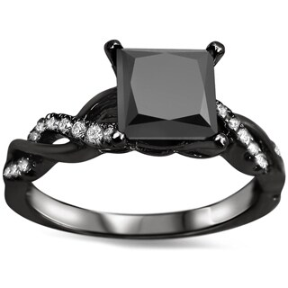 Noori 14k Black Gold 1 1/3ct TDW Black Princess-cut Diamond Engagement Ring
