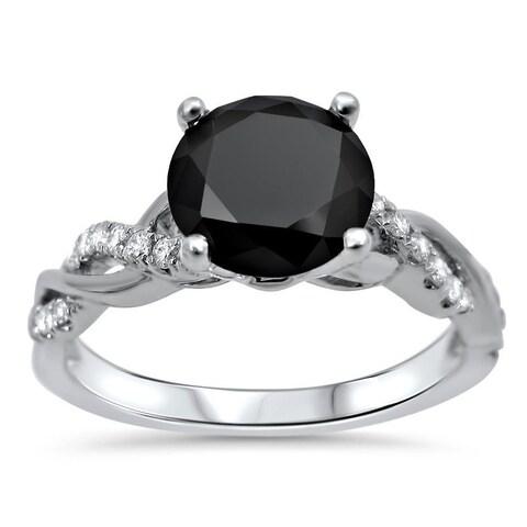 Noori 14k White Gold 1 1/3ct TDW Certified Black Diamond Engagement Ring