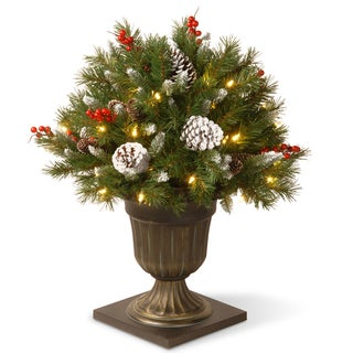 26-inch Frosted Berry Porch Bush with Clear Lights