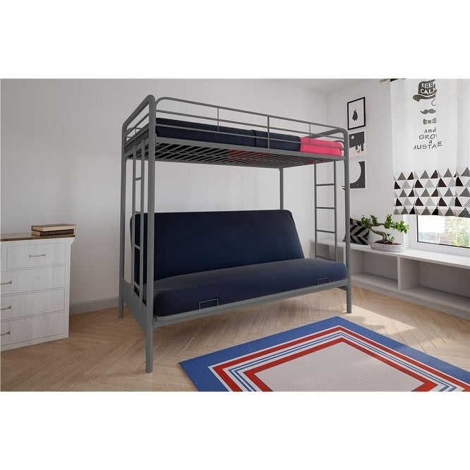 DHP Twin Above Futon Silver Metal Bunk Bed (Twin over Fut...