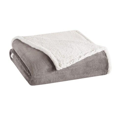 Madison Park Microlight Plush to Berber Blanket