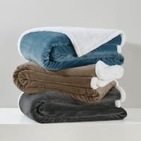 Madison Park Microlight Plush to Berber Blanket