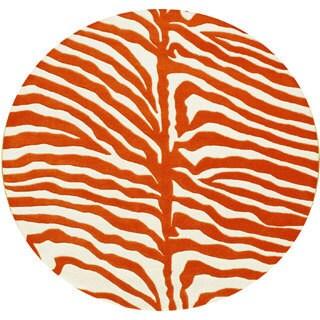 Alliyah Handmade Orange New Zealand Wool Rug (6' Round)