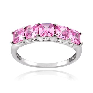 Icz Stonez Sterling Silver 2ct TGW Pink Cubic Zirconia Square Five-Stone Ring (3 options available)