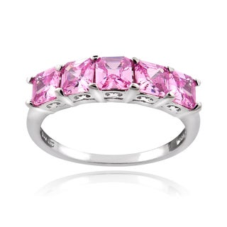 Icz Stonez Sterling Silver 2ct TGW Pink Cubic Zirconia Square Five-Stone Ring