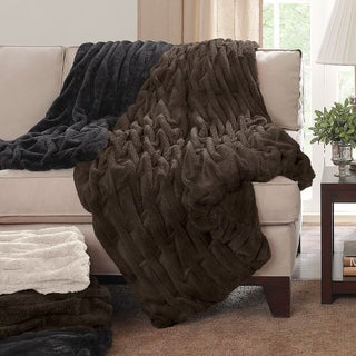 Madison Park Ruched Faux Fur Throw (5 options available)