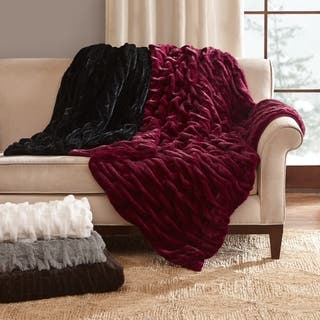 Madison Park Ruched Faux Fur Throw|https://ak1.ostkcdn.com/images/products/9423834/P16610578.jpg?impolicy=medium