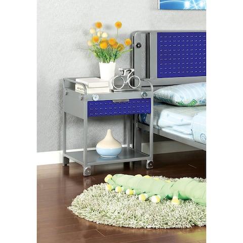 Furniture of America Brennise Metal Tray Top Nightstand