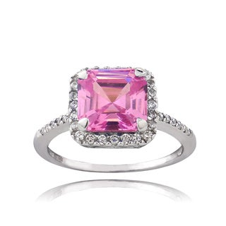 ICZ Stonez Sterling Silver 2 1/3ct TGW Pink Cubic Zirconia Asscher Cut Ring