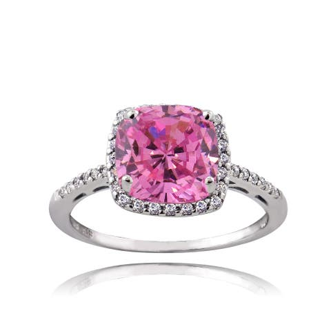 ICZ Stonez Sterling Silver 3 3/8ct TGW Pink Cubic Zirconia Square Ring