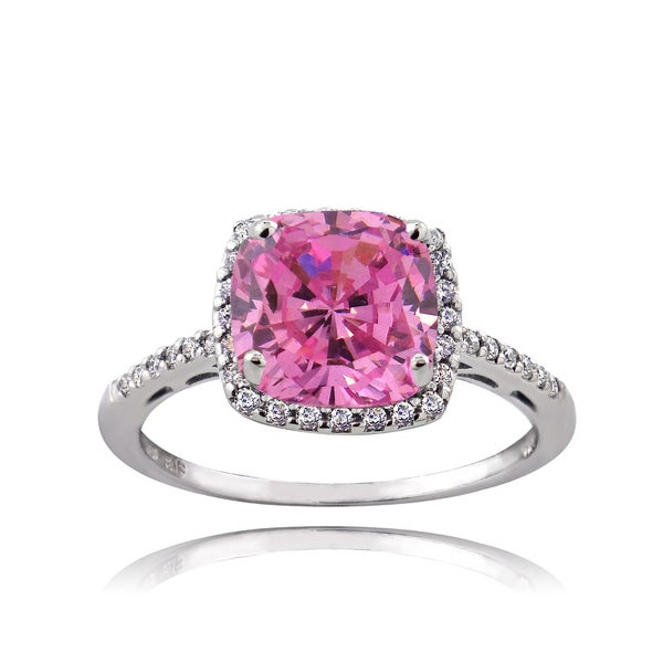 ICZ Stonez Sterling Silver 3 3/8ct TGW Pink Cubic Zirconia Square Ring. Opens flyout.