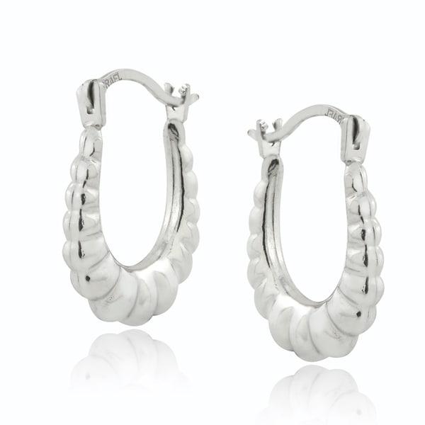 Shop Mondevio 10k White Gold Shrimp Hoop Earrings Free Shipping
