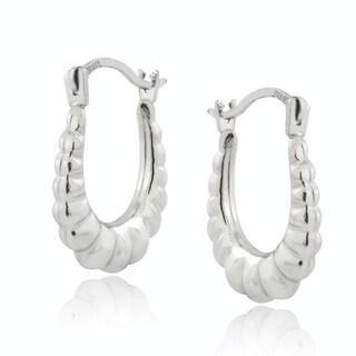 Mondevio 10k White Gold Shrimp Hoop Earrings