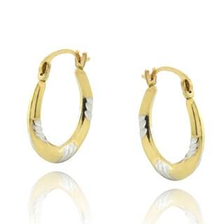 Mondevio 14k Two-tone Small Gold Hoop Earrings