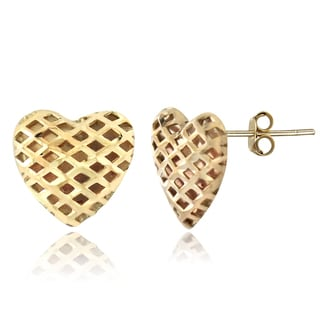 Mondevio 14k Yellow Gold Heart Stud Earrings