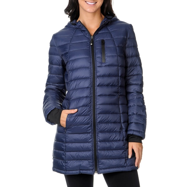 8b5256d119e Shop Halifax Traders Women's Marine Navy Hooded Packable Down Coat ...