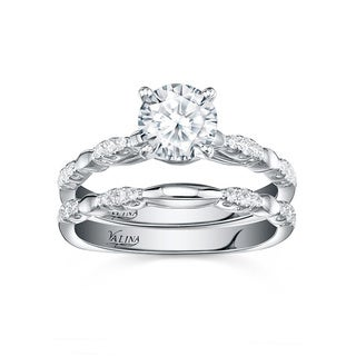 Valina 14k White Gold 1 1/5ct TDW Round-cut Diamond 2-piece Bridal Ring Set