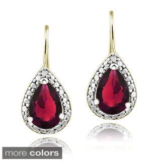 Glitzy Rocks Sterling Silver Created Gemstone and Diamond Accent Leverback Teardrop Earrings
