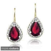 Glitzy Rocks Sterling Silver Created Gemstone and Diamond Accent Leverback Teardrop Earrings