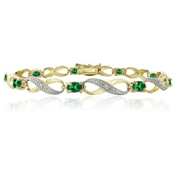 Glitzy Rocks Goldtone Created Gemstone and Diamond Accent Infinity Link Bracelet. Opens flyout.